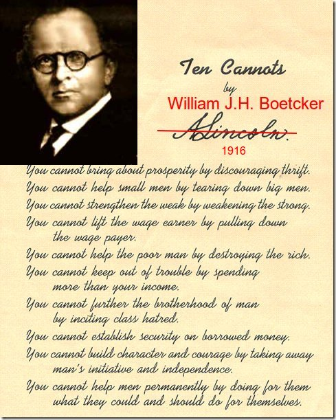 Ten Cannots by William J.H. Boetcker
