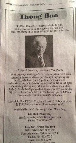 Thông báo ngày 23/03/2013 của gia đình Phạm Duy
