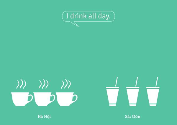 Tôi uống cả ngày.