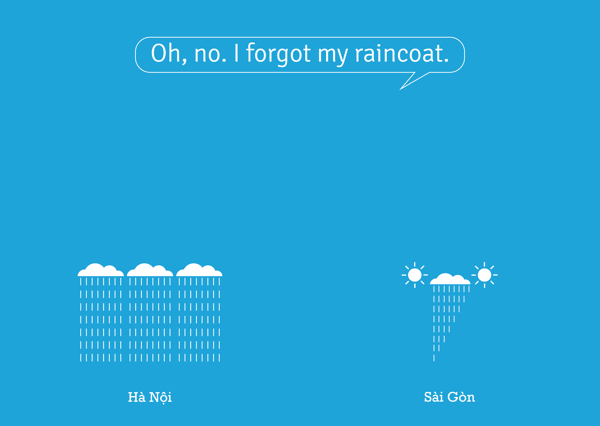 Ói, mình quên mang áo mưa.