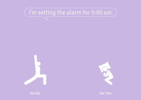 Tôi để đồng hồ báo thức lúc 5 giờ sang.