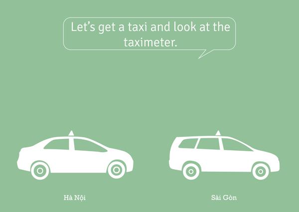 Đi taxi.