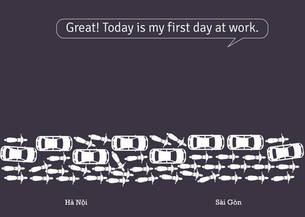 Hay quá, hôm nay ngày đầu minh đến sở.