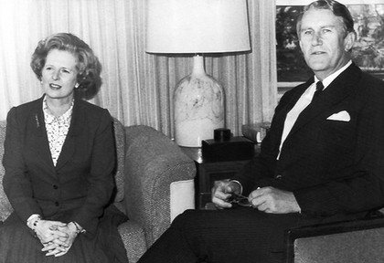 Margaret Thatcher and Malcolm Fraser meet in Canberra in 1979. Photo: The Age (File)
