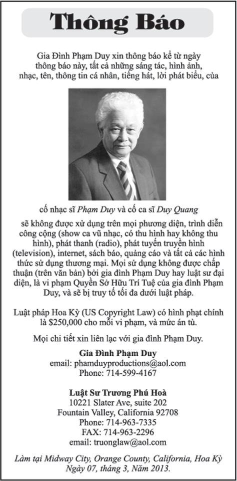 """Thông báo của """"Gia đình Phạm Duy"""" trên một tờ báo tiếng Việt tại California."""