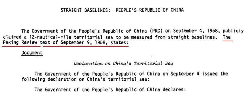 The Geographer , Office of the Geographer, Bureau of Intelligence and Research , Straight Baselines:  People's Republic Of China , International Boundary Study , Series A , Limits In The Seas , No. 43 , p.1-4.