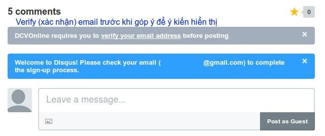 DISQUS nhắc bạn đọc xác nhận email đã dùng để ghi danh ngay sau đó.