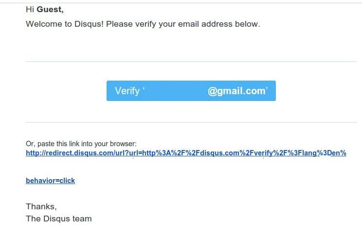 Email của DISQUS gởi yêu cầu xác nhận email đã ghi danh.