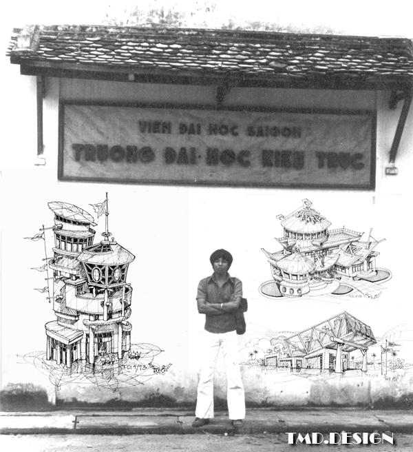 Bảng trước cổng trường ĐH Kiến Trúc Saigon (trước 1975). Nguồn DMT
