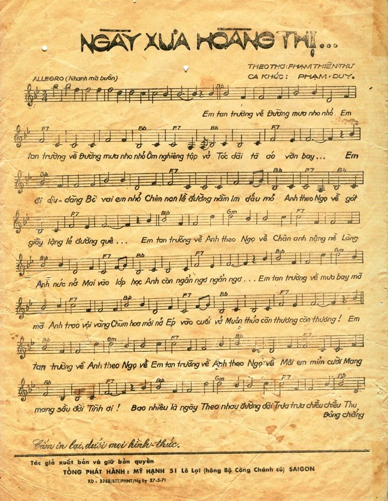 Bài hát Ngày Xưa Hoàng Thị. Nguồn: Phạm Duy & Phạm Thiên Thư.