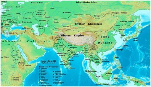 Bản đồ Châu Á vào năm 800 CN bao gồm vương quốc Champa và các nước trong khu vực.