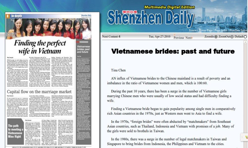 Quảng cáo cô dâu Việt Nam. Nguồn: http://szdaily.sznews.com