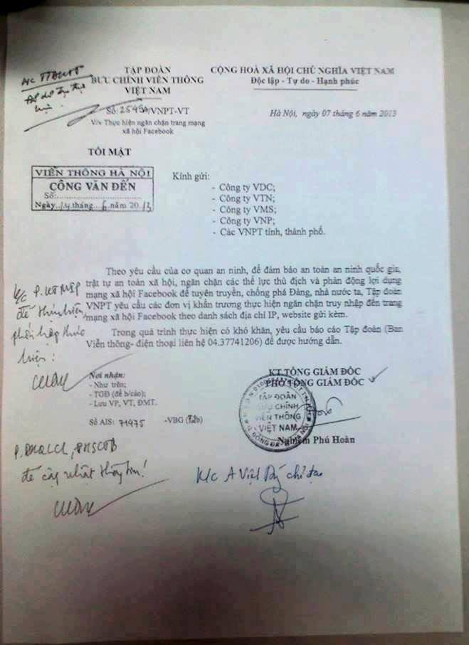 Thông tư tối mật của Tập đoàn Bưu chính Viễn thông Việt Nam. 7/6/2013