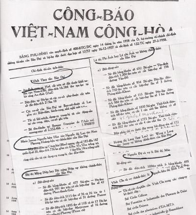 Công báo VNCH ngày 22 Tháng Ba 1958. Nguồn: Tư liệu gia đình ông Bảo Ân.