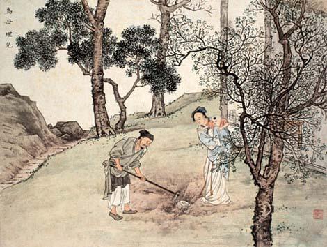 Vợ chồng Quách Cự (Guo Ju 郭巨) chôn con vì ưu tâm đến mẹ già (Một truyện trong Nhị thập tứ hiếu của Trung Hoa, quách cư kính biên soạn.) Nguồn: http://history.cultural-china.com/