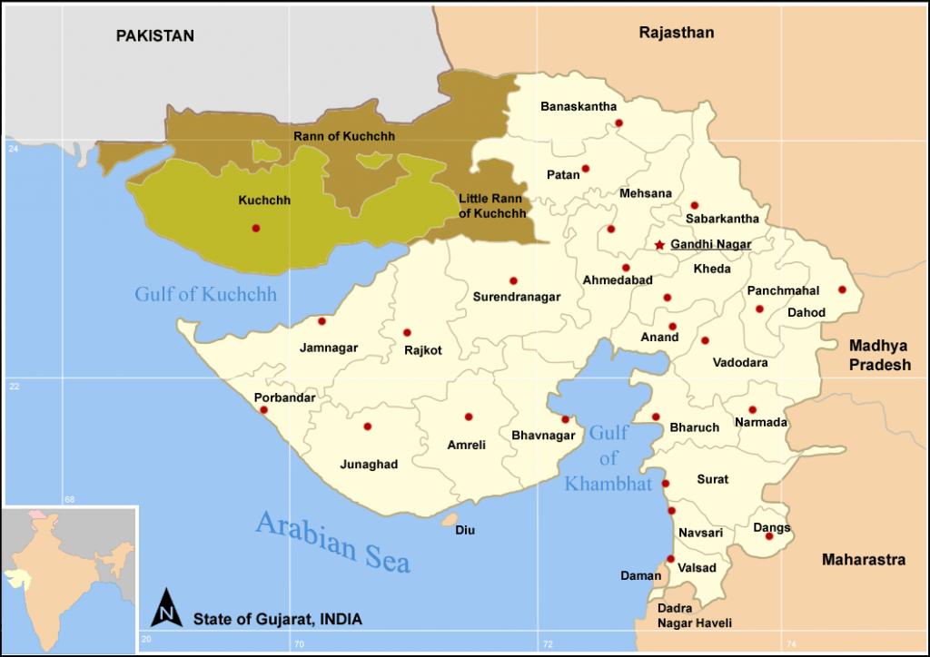 Bản đồ tiểu bang Kutch (nguồn Wikipedia).