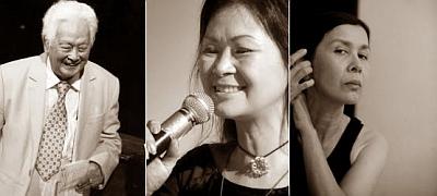 Từ trái: Phạm Duy, Khánh Ly, Eo Sola Thủy. Nguồn ảnh: OntheNet.