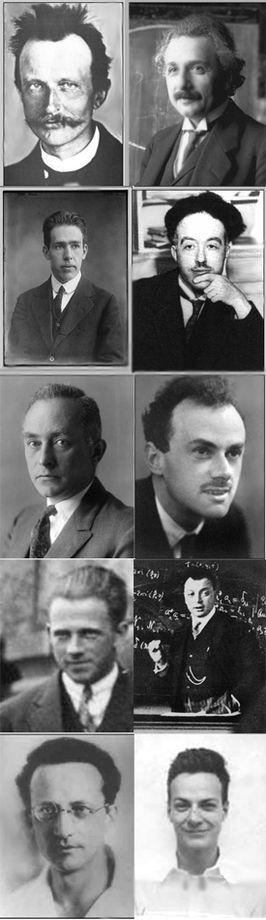 Từ trên xuống, tù trái qua: Max Planck, Albert Einstein, Niels Bohr, Louis de Broglie, Max Born, Paul Dirac, Werner Heisenberg, Wolfgang Pauli, Erwin Schrödinger, Richard Feynman. Nguồn: Wikipedia.org