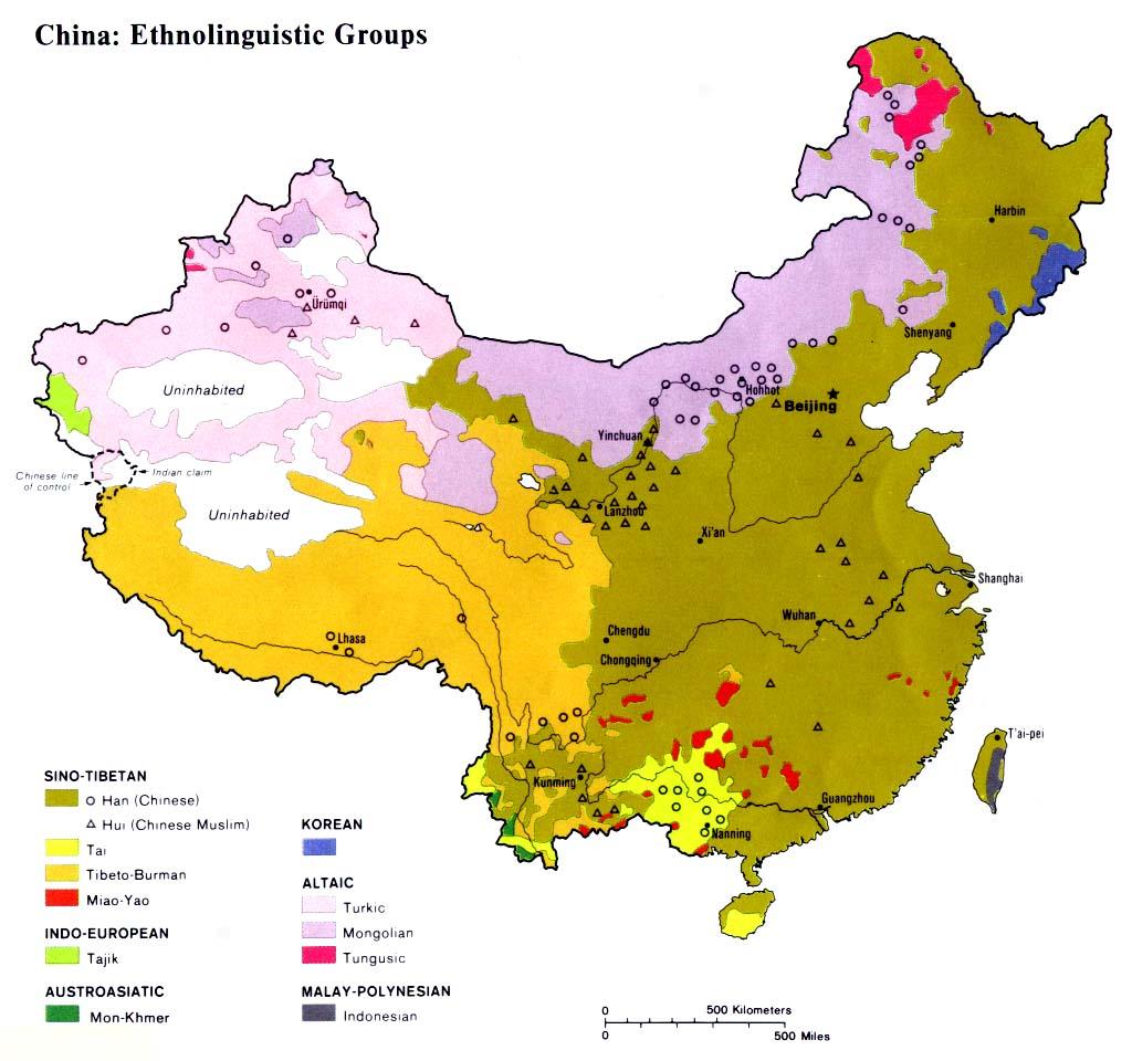 Bản đồ các Nhóm Dân tộc-Ngôn nữ tại Trung Hoa. Nguồn Wikipedia
