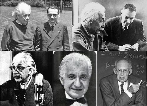 Trên: Einstein và Gödel, Einstein và Oppenheimer Dưới:  Albert Einstein,  Boris Podolsky,  và Nathan Rosen. DCVOnline tổng hợp