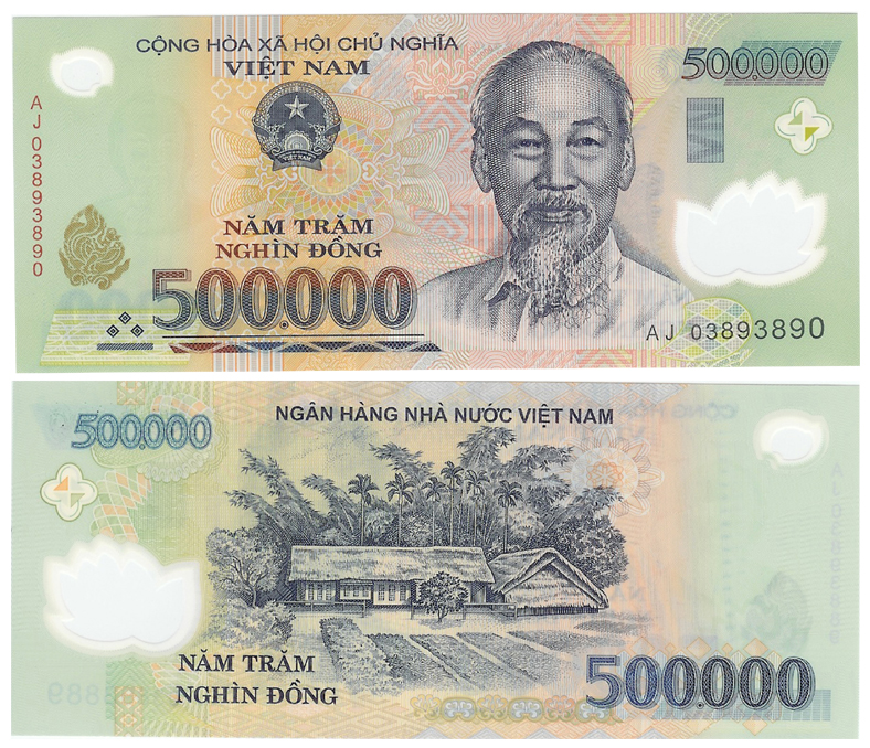 Tờ giấy bạc 500000 đồng của nước CHXHCN Việt Nam. Nguồn: OntheNet