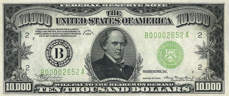 10,000 đô-la, mệnh giá cao nhất lưu hành 1918-46. Hình Salmon P. Chase, Thẩm phán Tối cao pháp viện Mỹ (1864-73). Nguồn: Wikipedia
