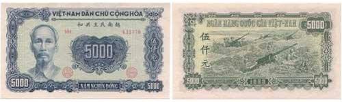 5000 đồng, mệnh giá lớn nhất thời VNDCCH - có chữ hán và chữ Việt. Nguồn: OntheNet