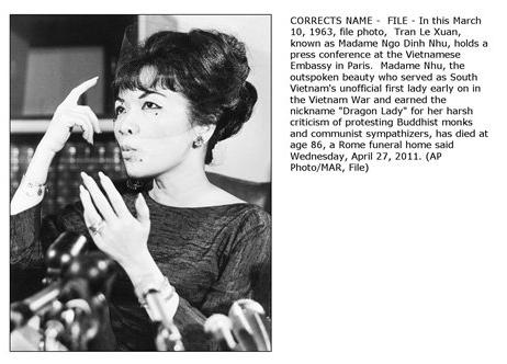 Bà Trần Lệ Xuân  (22 August 1924 – 24 April 2011). Nguồn: AP