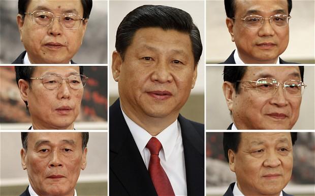 Thanh viên Ban Thường trực BCT Đàn CSTH: Xi Jinping (centre), (clockwise from top left) Zhang Dejiang, Li Keqiang, Yu Zhengsheng, Liu Yunshan, Wang Qishan, Zhang Gaoli Photo: Reuters