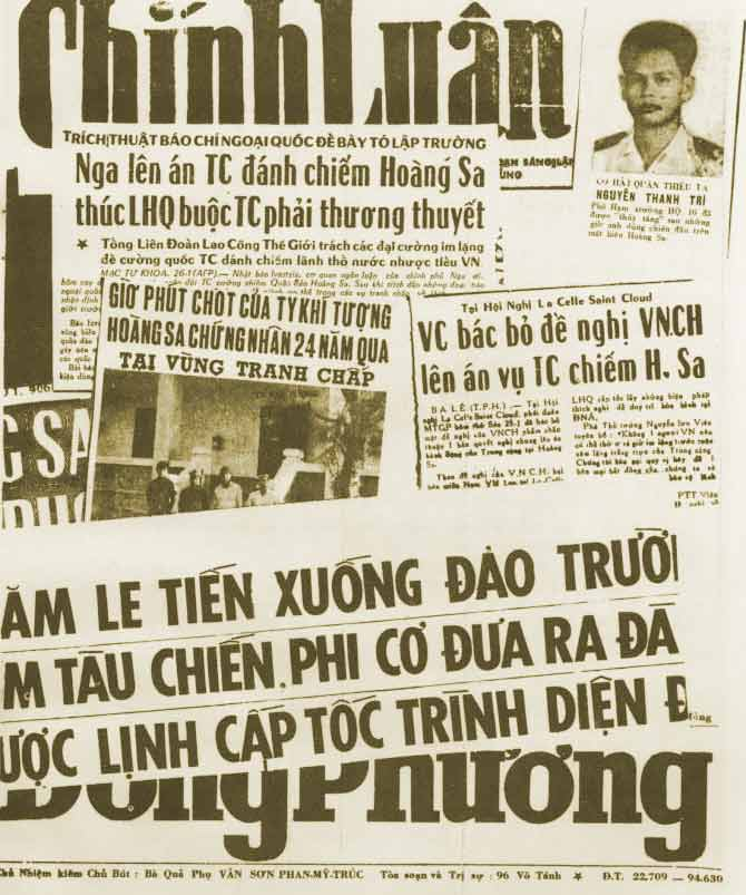 Báo chí miền Nam viết về trận Hoàng Sa (1/1974). Nguồn: Source: VNN Coastal Group 16