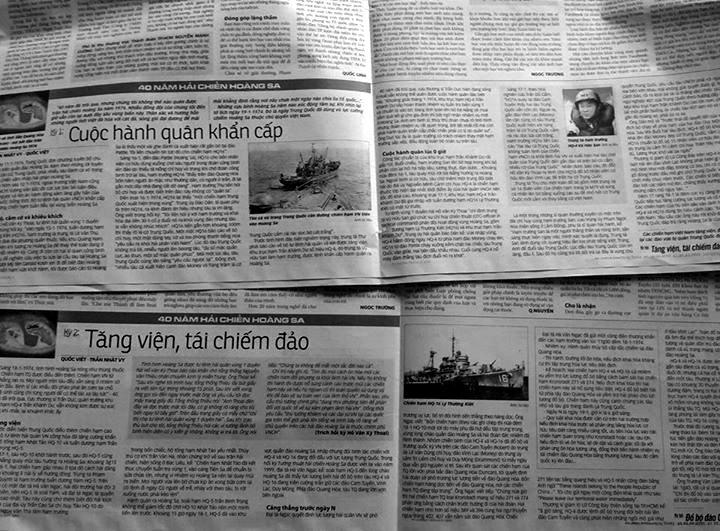 Báo Tuổi Trẻ viết về trận Hoàng Sa (1/2014). NGuồn: Tuổi Trẻ.