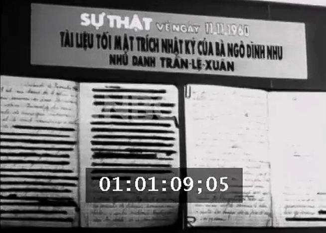 Tài liệu tối mật trích nhật ký của bà Ngô Đình Nhu. Nguồn: NBC News