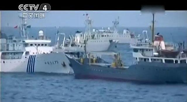 Cuộc ddujng độ năm 2007: tàu Trung Quốc và tàu Việt Nam. Nguồn: CCTV-4