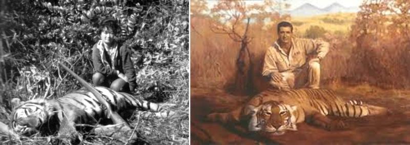 (Trái) Bà Lệ Chi bên xác con hổ (Gần Dalat, 1957). (Phải) Hình vẽ của họa sĩ Lechi Oggeri tại Cape Fear Studios. Nguồn: animalsversesanimals.yuku.com và capefearstudios.com