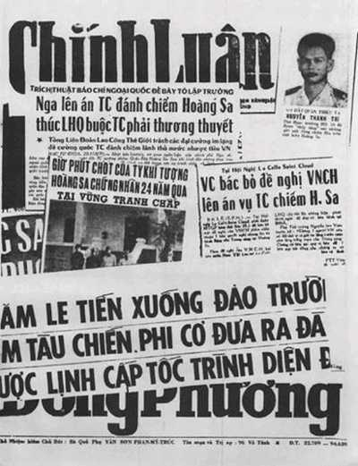Báo ở Sài Gòn đăng tin TQ xâm lăng Hoàng Sa. Nguồn: OntheNet.