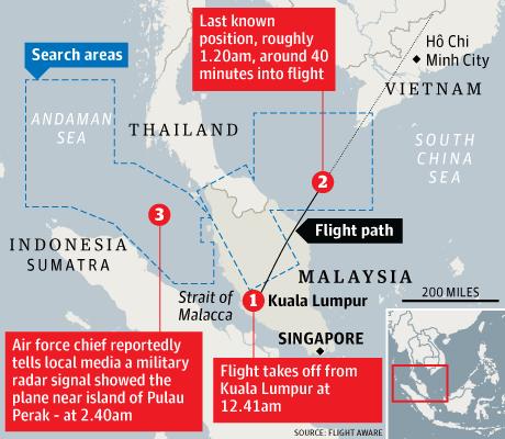 Bản đồ khu vực chuyến bay MH370 mất tích. Nguồn: TheGuardian.com