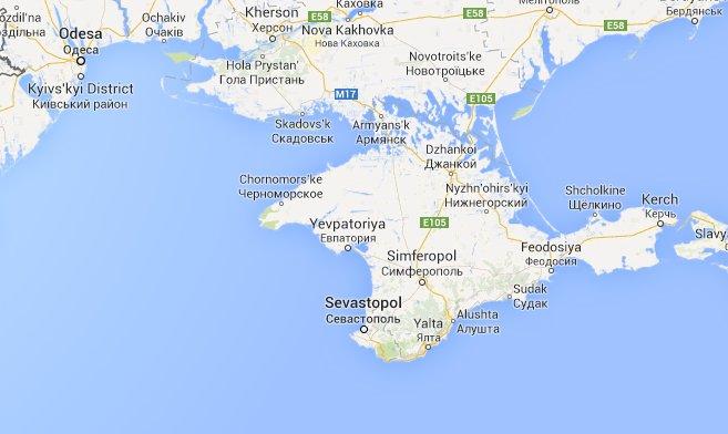 Bán đảo Crimea (Ukraine). Nguồn: Google Map