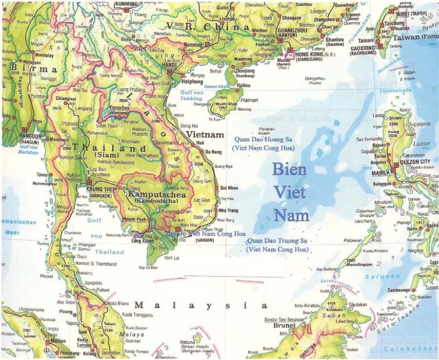 Bản đổ Việt Nam với Hoàng Sa và Trường Sa. Nguồn: OntheNet
