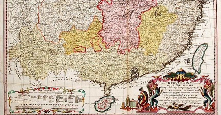 Tâm bản đồ cổ của Trung Quốc do d'Anvil thực hiện năm 1776. Nguồn Foreign Policy.