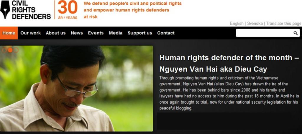 Ngườiười tù vì đã biểu tình chống Trung Cộng xâamm lấn biển đảo Việt Nam.