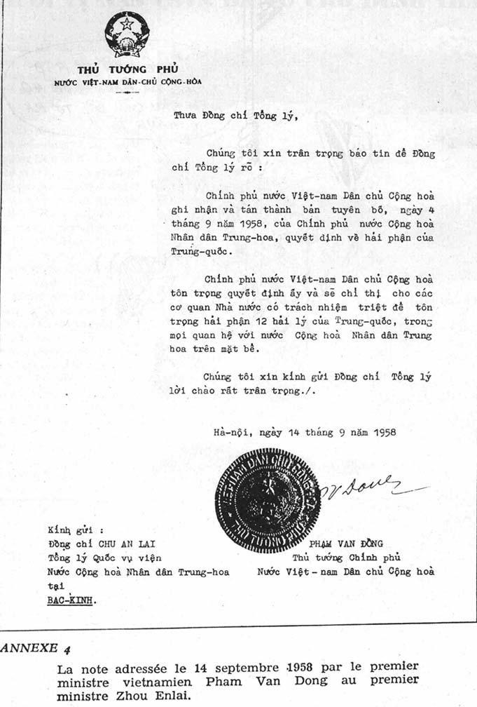 Công hàm 1958. Nguoogn: VNDCCH