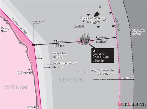 Vị trí giàn khoan HD981 đặt trái phép nằm sâu trong vùng đặc quyền kinh tế của Việt Nam. Nguồn: danluan.vn
