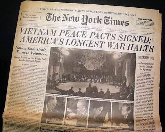 Hiệp định Ba Lê ký ngày 27/1/1973. Nguồn:  kalw.org