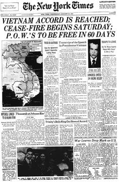 Nữi Ước Thòi báo đăng tin ký kết Hiệp địng Ba Lê (January 27, 1973). Nguồn TNYT.