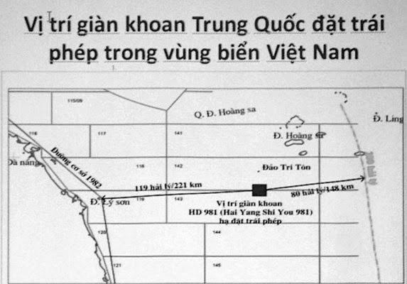 Vị trí giàn khoan dầu của TQ trên biển Việt Nam. Nguồn: OntheNet