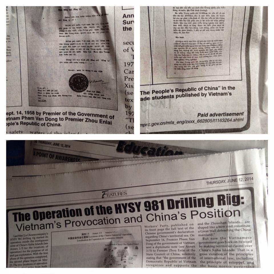 """Trung Quốc đã đưa bài viết tố cáo """"Việt Nam khiêu khích""""  lên báo Philippines (Philippines Star, 12/6/2014)"""