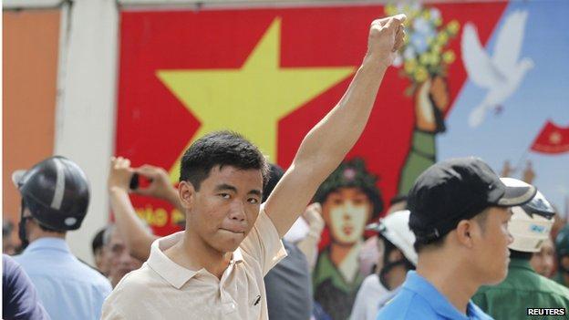Một cuộc biểu tình phản đối chống Trung Quốc ở phía nam thành phố Hồ Chí Minh của Việt Nam ngày 18 Tháng Năm 2014.