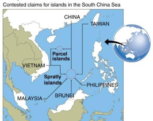 Bản đồ vùng tranh chấp ở biển phía đông Việt Nam. Nguồn: allvoices.com