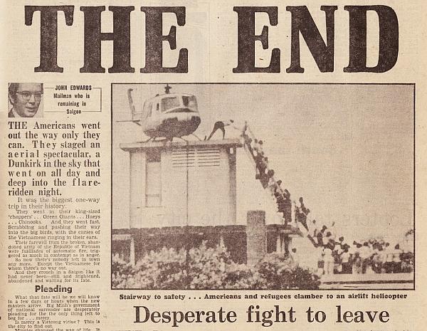 Sài Gòn thất thủ. Nguồn Daily Mail, Thứ Tư, 30 tháng 4, 1975.
