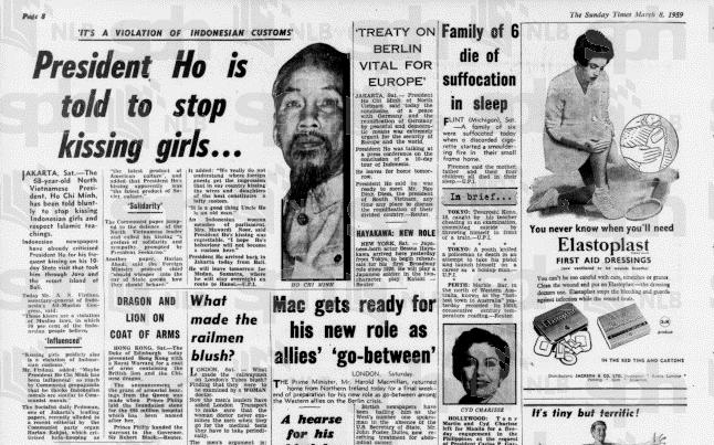 Hồ Chí Minh lên báo vì chuyện ôm hôn con gái vị thành niên... Nguồn: The Straits Times (SG)